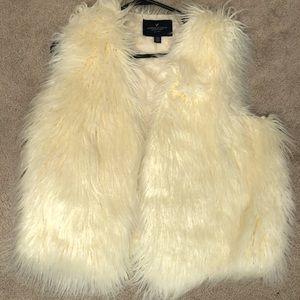 American Eagle Cream fur vest